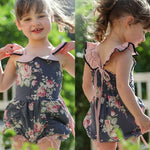 Toddler Kids Baby Girls Rompers Princess Flower Ruffle Bow Infant Children Jumpsuits Outfits