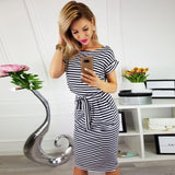 Summer dress draped sexy bodycon striped short sleeve slim female dresses 10 colors