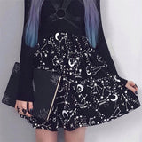 High Waist Punk Black Mini Skirts Constellation Rock Moon Sexy Club Outfits