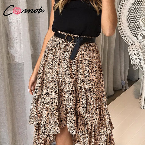Women Skirts Polka Dot  Ruffles Asymmetrical Elegant Midi Skirt