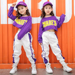 Hip hop Jazz dance Costume clothes for girls Kid Cropped Sweatshirt Shirt Jogger Pants
