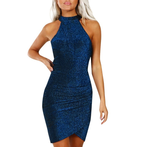 Women Sparkly Off Shouder Bodycon Mini Dress Evening Party Dress