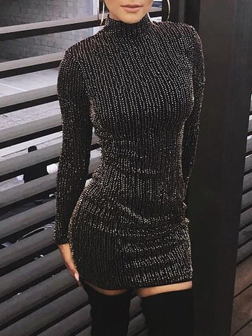 Sequined Tassel Bodycon Party Club Turtleneck Skinny Casual Sexy Club Dress