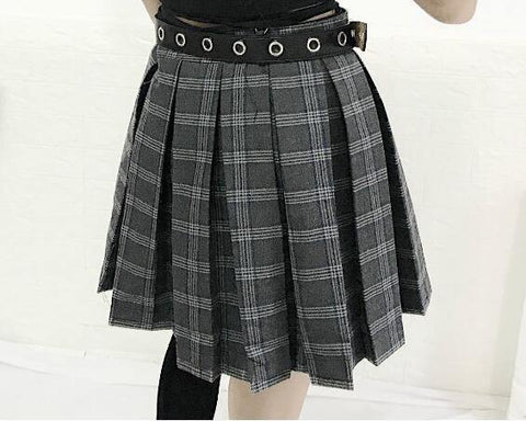 Chains Belted Punk Hip-hop Plaid Skirt Women Irregular Sexy High Waist Pleated Skirts