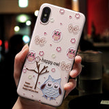 Cute 3D Emboss Cartoon Patterned Phone Case For iphone X 8 7 6 6S Plus iphone 5 5s SE