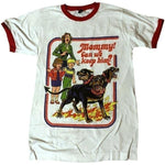 Vintage 80's Mommy Can We Keep Him Printed T Shirt