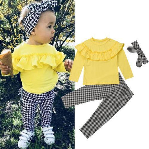 3PCS Toddler Kids Baby Girl Winter Clothes Ruffle Plaid Tops+Long Pants Outfits Set