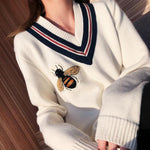 Bees Knitting V-neck Pullover Sweaters Embroidery Cartoon Honeybee - Outfitter Style
