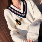 Bees Knitting V-neck Pullover Sweaters Embroidery Cartoon Honeybee