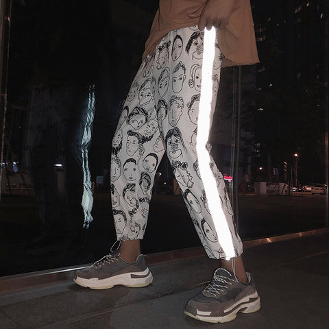 Reflective Gothic Pants Women Hip Hop Streetwear Ankle Length Trousers
