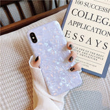 Glossy Marble Case For iphone 6 7 8 Plus X XS Max XR Bling Shell Glitter Soft TPU Cover