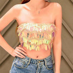 Multi Colors Strapless Tube Tops Shiny Wavy Sequins Women Crop Top Festival