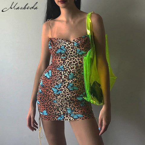 Butterfly Print Spaghetti Strap Dress Summer Sexy Slim Backless Mini Dresses