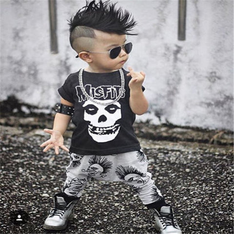 New 0-3Y Newborn Baby Boy Clothes Infant Toddler Kids Black Skull T-Shirt Top + Pant 2pcs