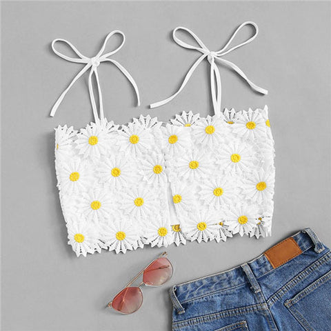Crop Top With Embroidery Women Beach Vacation Boho Cute Slim Fit