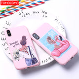 Queen Classy Paris Girl Summer Travel Mom Baby Soft Silicone Candy Case For iPhone 6 11 8 8Plus X XS Max 7 7Plus