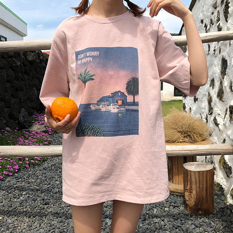 Vintage Printed T Shirt Women Summer Casual Tee Shirt