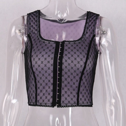 Sexy Mesh Polka Dot print breasted Slash Neck crop top