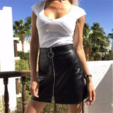 High Waist Faux Leather Skirt Women Sexy Zipper PU A-Line Skirt