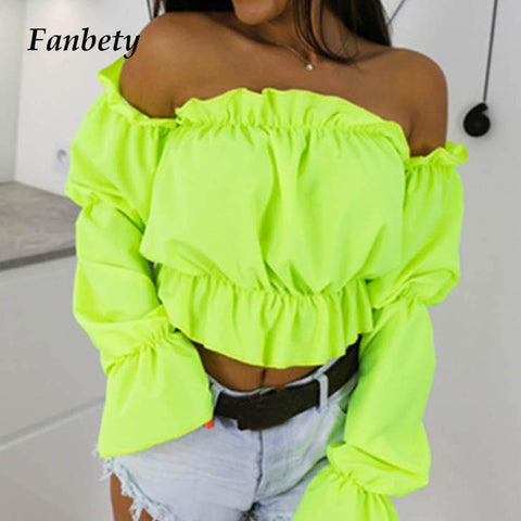 Candy Color Off Shoulder Crop Tops women Summer dot print lantern sleeve shirts