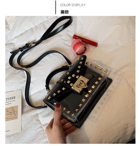 Transparent Jelly Women Chains Rivet Small Square Hand Bag PU