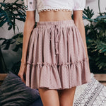 Polka dot skirt High waist A line korean tassel Sexy ruffle skirts