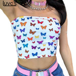 Sexy Butterfly Print Strapless Slash Neck Tube Tops Fashion Summer Women Slim Crop Tops