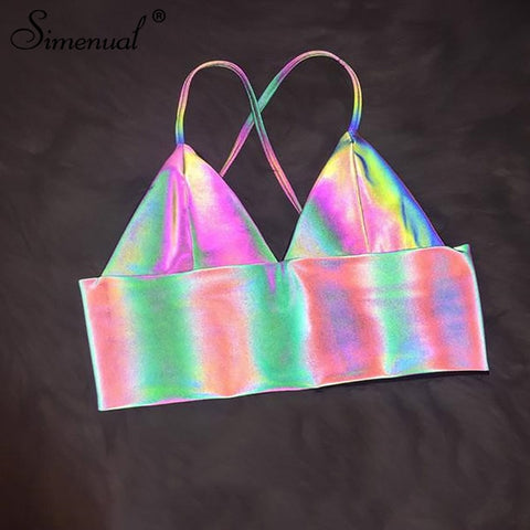 V Neck Sexy Holographic Bralette Crop Top Strap Reflective Hot Summer