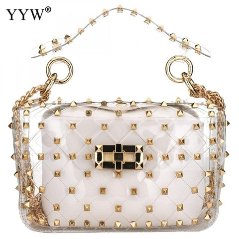 Pink Pvc Jelly Bag Handbag Women Rivet Studded Bag