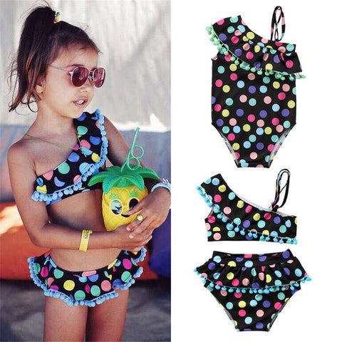 Summer Swimwear Fashion Polka Dot Tassle Swimsuit Bathing Suit Toddler Kids Children Tankini Bikini Set