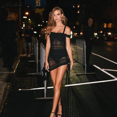 Sexy Mesh Perspective Women High Waist Slim Dress Slash Neck Lady Summer Dresses