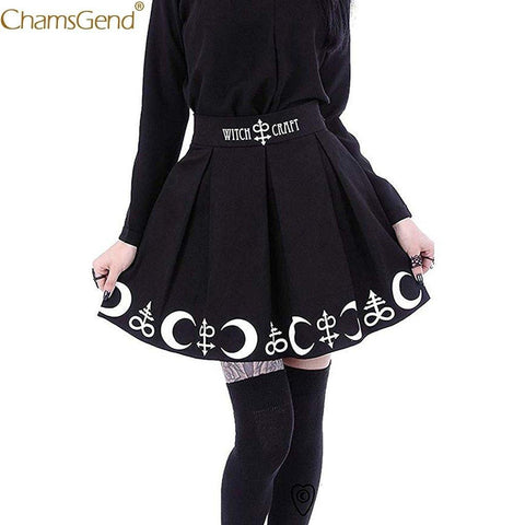 summer skirts womens Witchcraft Moon Magic Spell Symbols Black