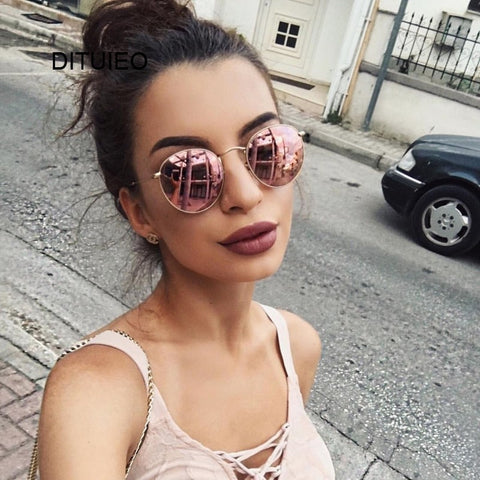 Vintage Oval Sunglasses Women Retro Clear Lens Eyewear Round