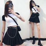 Summer New cosplay women high waist pleated skirt mini skirt send belt