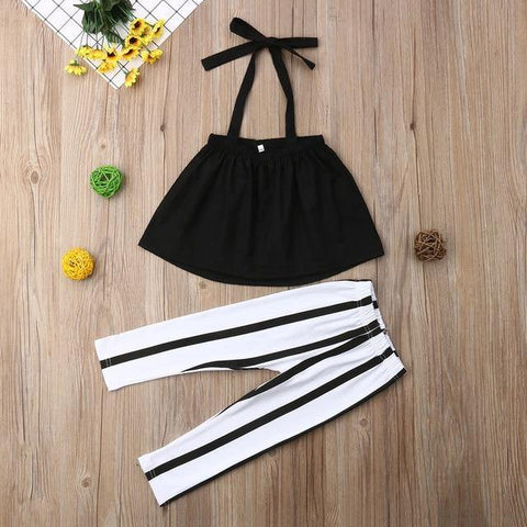 Toddler Newborn Baby Girls Solid Off Shoulder Shirt Tops Striped Pants Leggings 2pcs Outfits Cute