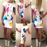 Women Sexy Tank Dress Slim Casual Camouflage Military O-Neck Print Splice Empire Mini Dresses