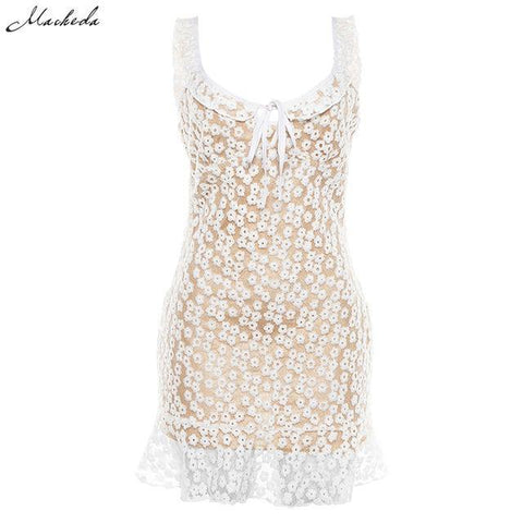 Bohemian Small Floral Mini Dress Women Romance Double Layer White Dress
