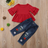 Summer Casual Clothes Sets 1-6Y Toddler Baby Girls Petal Sleeve Red T-Shirts Tops Floral Print Blue Hole Pants