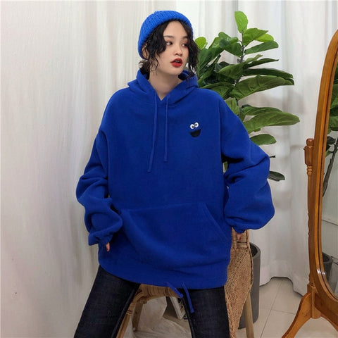 Hoodies Pockets Embroidered Cartoon Trendy Cute Female