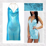 Sexy club Crystal Metal Party glitter Dresses Sequins sexy halter mini Dress