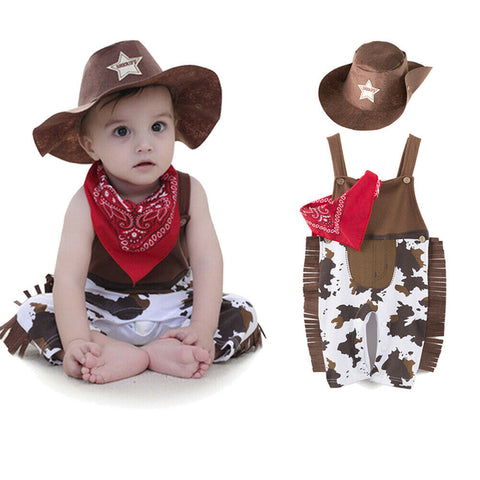 Toddler Newborn Baby Boy Girl Clothing Set Infant Cowboy Clothes hat+scarf+romper