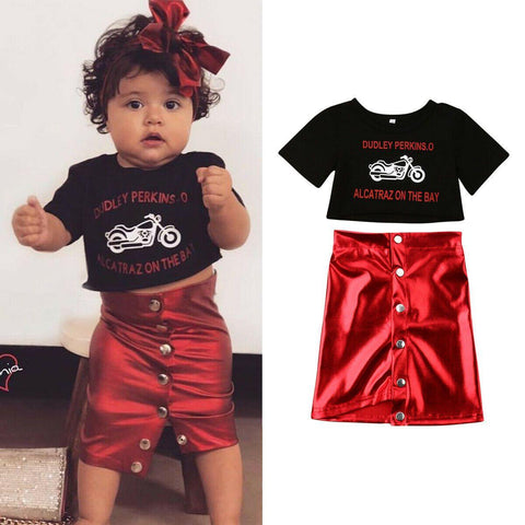 1-5Y Fashion Toddler Kids Baby Girls Sets Letter Print Tops T-shirt Mini Skirt 2PCS Outfits Clothes