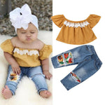 1-5Y Toddler Kids Baby Girls Clothes Sets Off Shoulder Tops Floral Pants Jeans Outfits Clothes