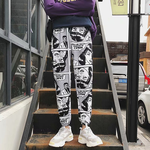 Casual Foot Harem Pants Comics Printed Joggers Pants Mens Hip Hop