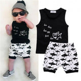 Summer Cute Baby Boys Casual Shark White Short Pants Outfits 2Pcs Set Clothes 0-24M