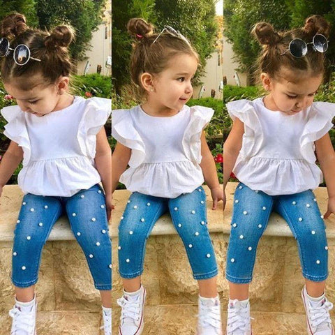 2Pcs Toddler Girls Clothes Sets Fashion Infant Girls Cotton Top T-shirt+Denim Pearl Long Pants 2pcs Outfits