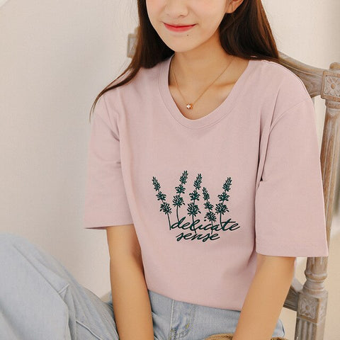 Flower Fresh Embroidery T-shirts