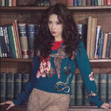 Luxury Blue Beading Bird Embroidery Vintage Ladies Knitted Jumper