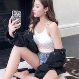Sexy Women Crop Tops Solid Camis Casual Spaghetti Strap Cropped Tank Tops Vest - Outfitter Style