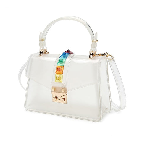 Clear Transparent saddle Bag Women Fashion rivet Jelly Bags